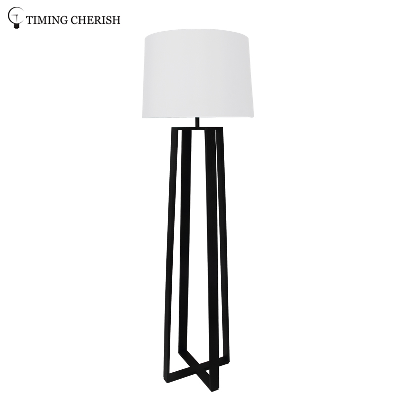 Bracknell 1 Light H1680MM Classic Wood Floor Lamp in Natural / Black with White Linen Shade