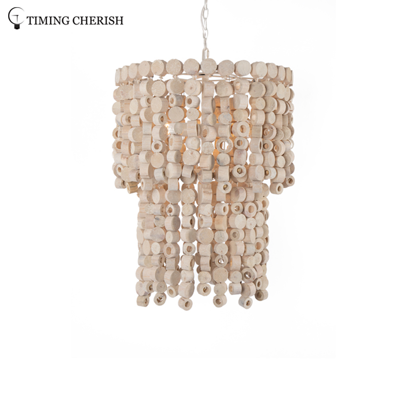 Exclusive Octave 4 Light Handmade Wood Chips Modern Chandelier Pendant Light in Natural Wood