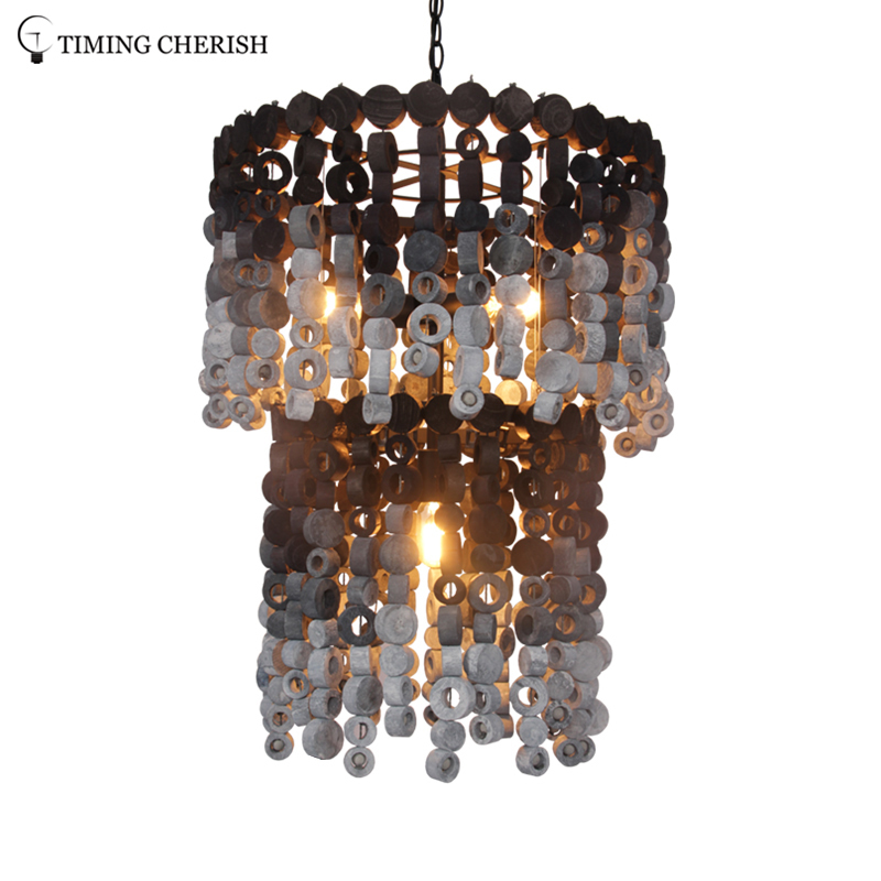 Exclusive Octave 4 Light Handmade 2-Tier Wood Chip Modern Chandelier Pendant Lamp in Grey