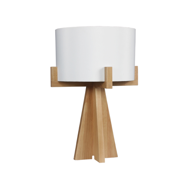 Hyde 1 Light Handmade Wooden Vintage End Table Lamp in Natural Wood