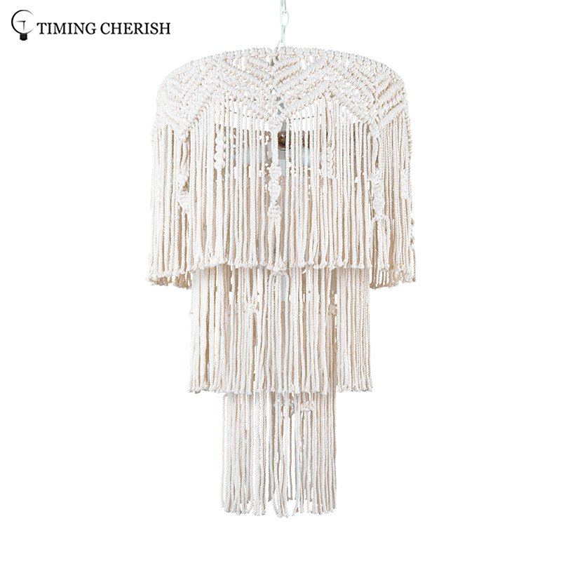 Eva Medium 6 Light H950MM Handcrafted 3-Tier Weaving Cotton Macrame Pendant Chandelier in Off-White