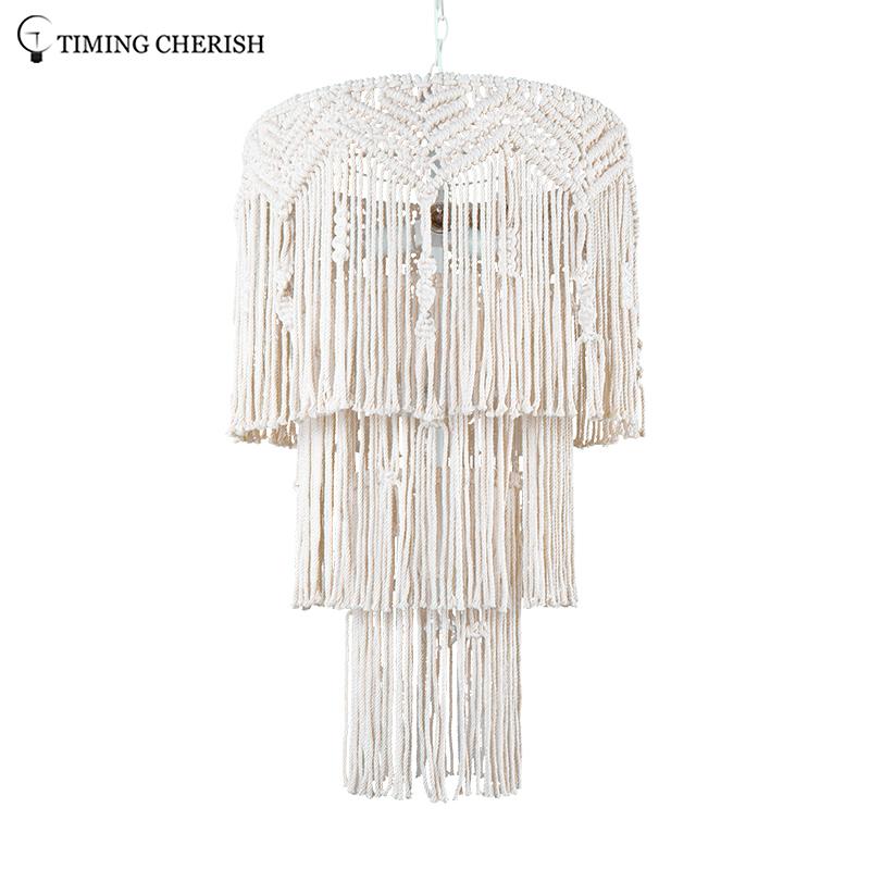 Eva Medium 6 Light H950MM Handcrafted 3-Tier Weaving Cotton Macrame Pendant Chandelier in Off-White