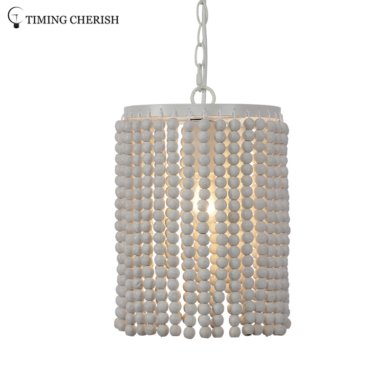 Baikal 1 Light Small Wood Bead Hanging Ceiling Light Fixture in Natural / White Wash / French Grey / Black