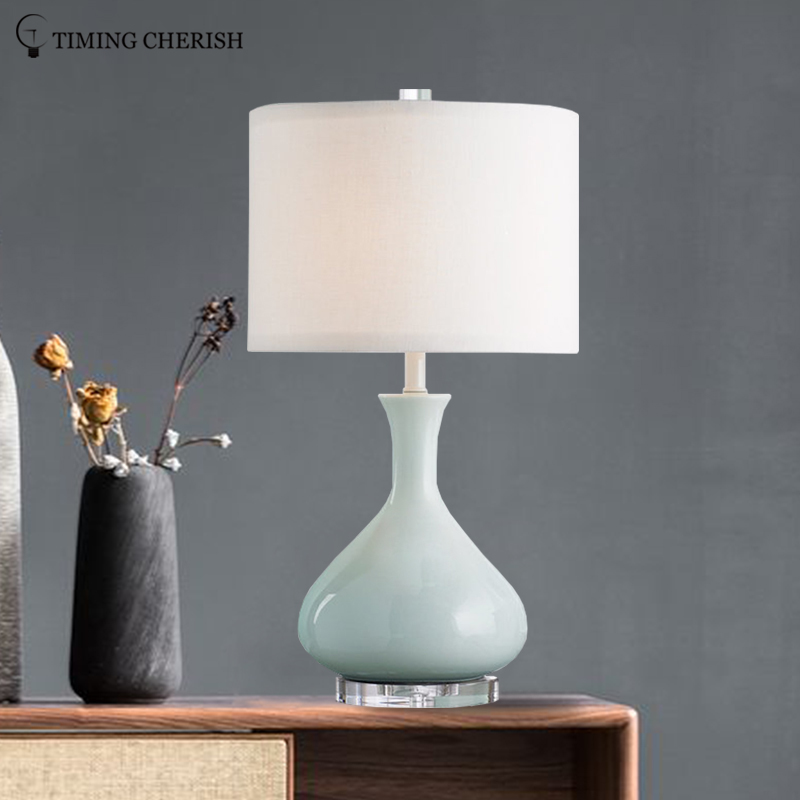 Harper 1 Light H640MM Ceramic Table Lamp in Spa Blue with White Drum Fabric Shade