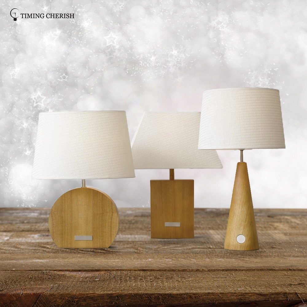 Morgan 1 Light H495MM Solid Wood Touch End Table Lamp with White Paper Shade