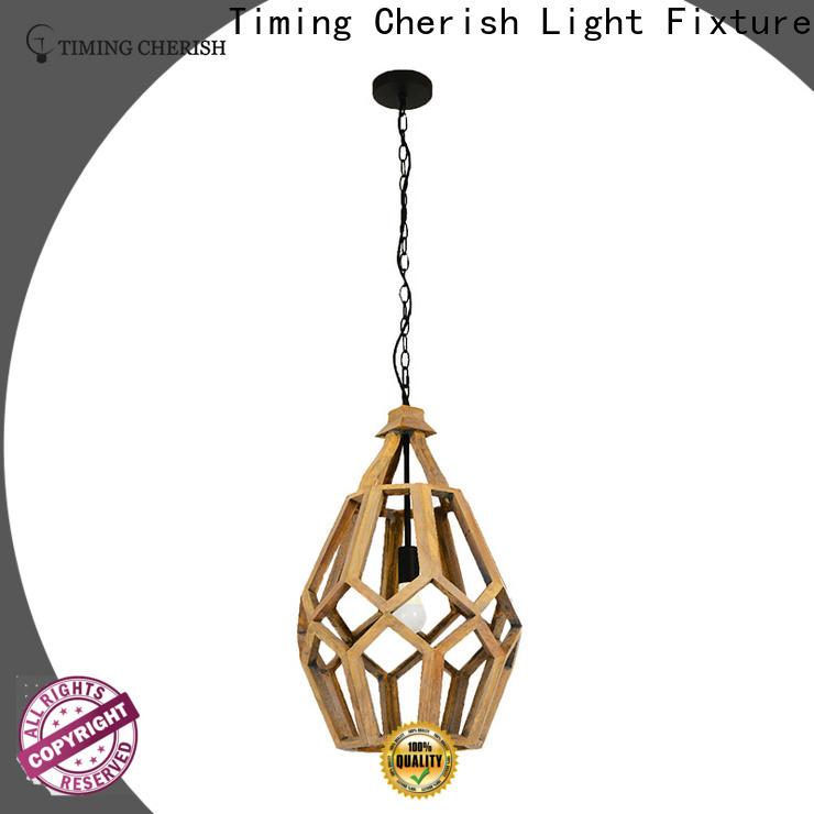 Timing Cherish fringed timber pendant light supply for hotel