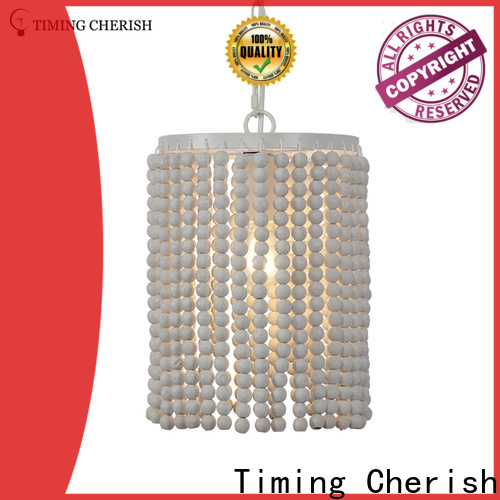 Timing Cherish weaving cotton wood pendant light suppliers for home