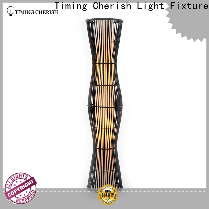 Timing Cherish white rattan floor lamp supply for living room