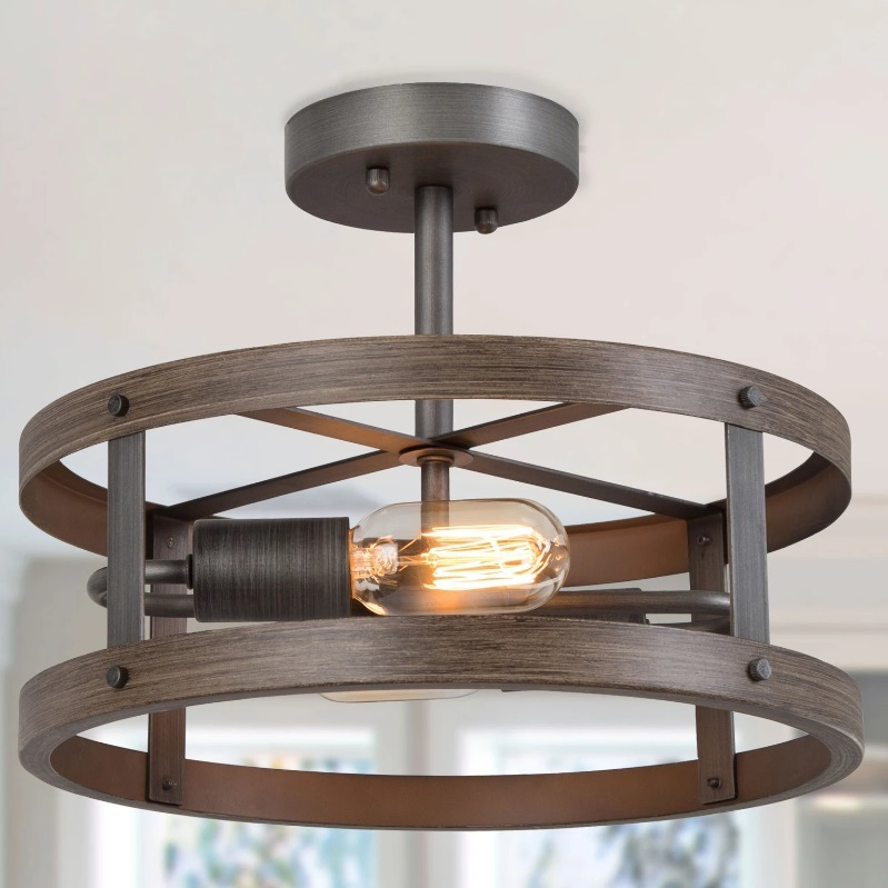 YUAN  2 Light Semi Flush Mount Ceiling Light with Wood Finish