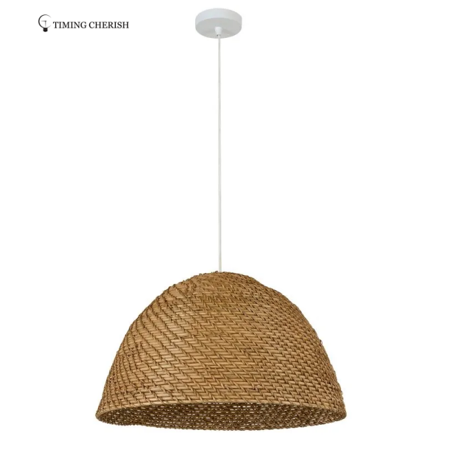 Leed Wicked Handmade Rattan Recycled Materials Pendant Light in Natural and White Wash
