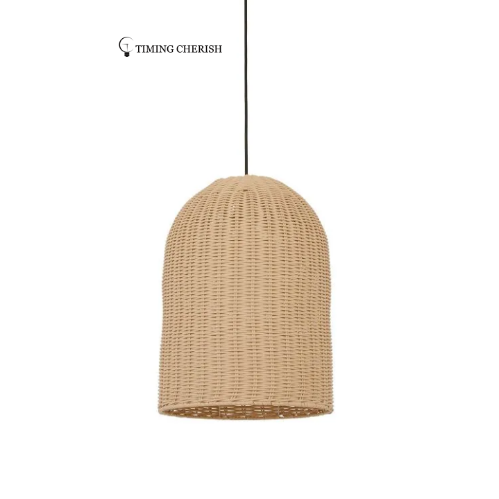 Lxtre 1 Light Tall Rattan Pendant Chandelier Light in Natural
