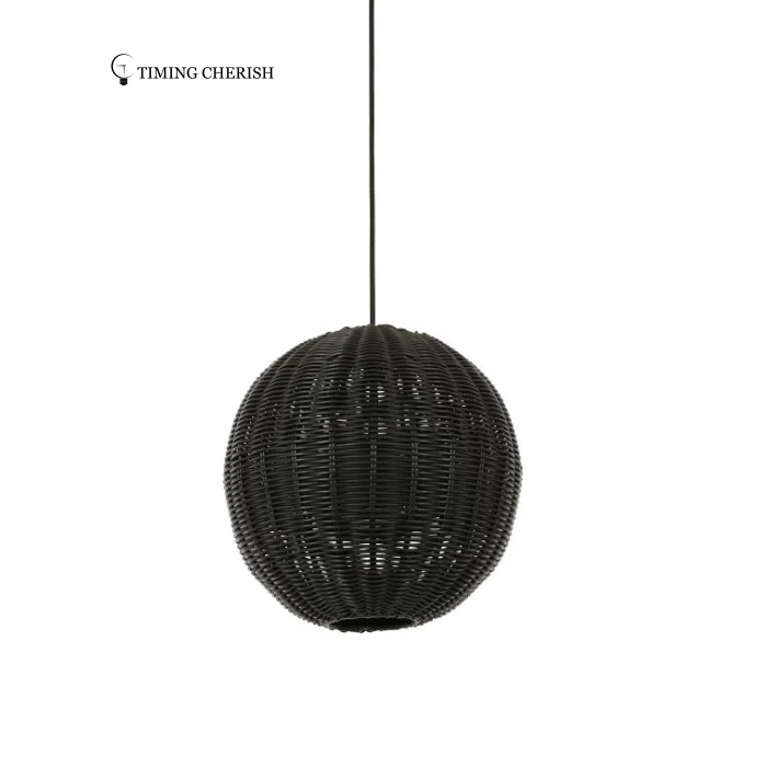 Lxtre1 Light RoundRattan Pendant Ceiling Lamp in Natural or Black