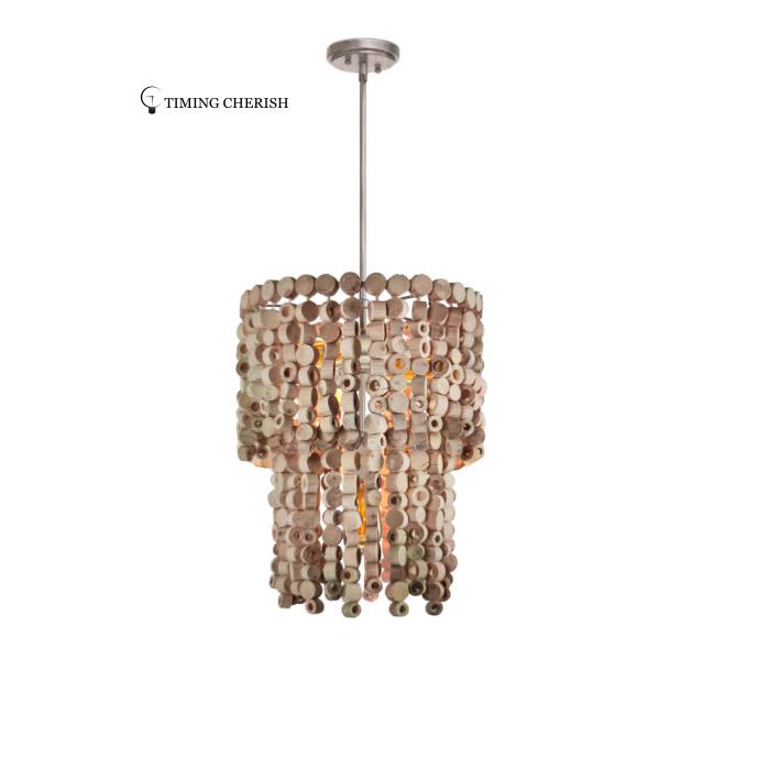 Exclusive Octave 3 Light  Wooden Chips Modern Chandelier Pendant Light in Natural Wood 2021 Lighting trends