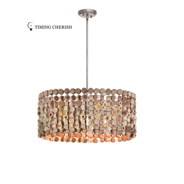 Exclusive Octave Wood Beaded Chips Modern Chandelier Pendant Light 5 Light 2021 Lighting trends