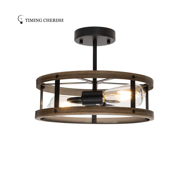 YUAN  2 Light Semi Flush Mount Ceiling Light with Wood Finish