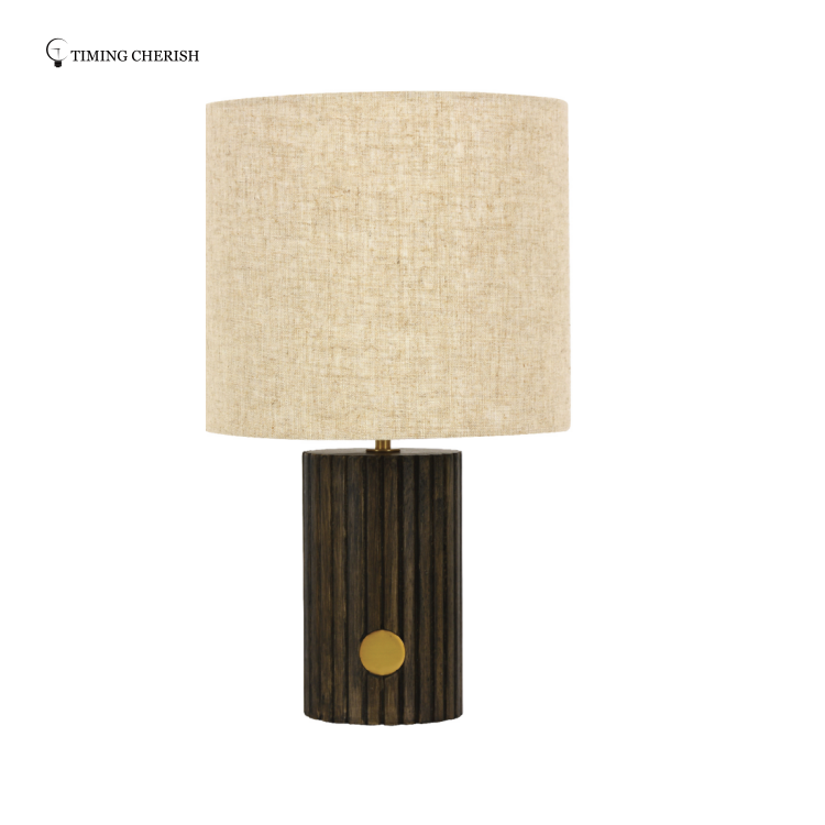 Canal Ribbed Solid Ash Wood Table Lamp finished in Dark Brown or White Wash 2021 Most Popular Table Lamps