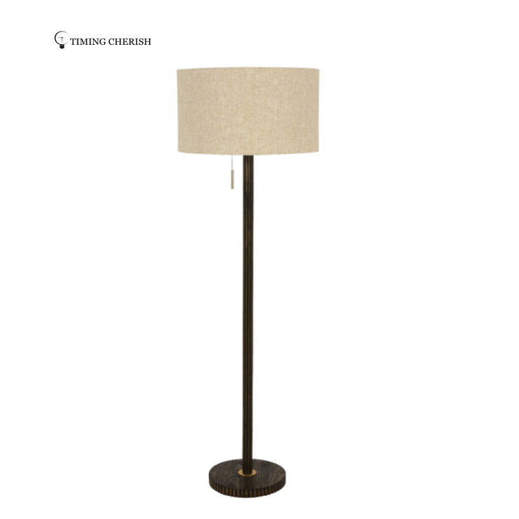 Canal Ribbed Solid Ash Wood Floor Lamp finished in Dark Brown or White Wash  2021 Most Popular Floor Lamp