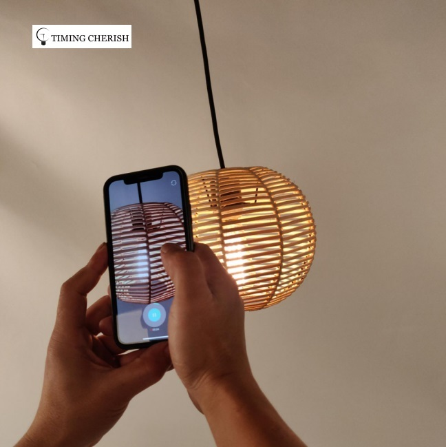 Insta Handwoven Raw Rattan Pumpkin Lantern Hanging Pendant Light 2021 Interior Design Trend WYP3288