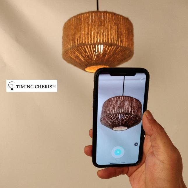 Alpha Modern Boho Handcrafted of Natural Fiber Suspension Lamp 2021 Interior Design Trend  WYP3292
