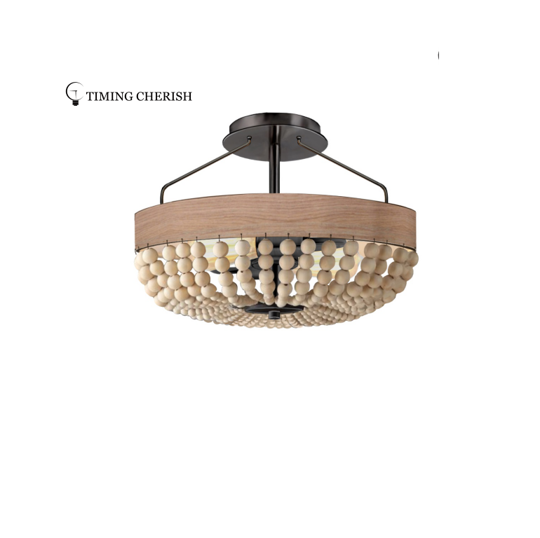 Baikal Wood Beaded Semi Flush Ceiling Light in 2021