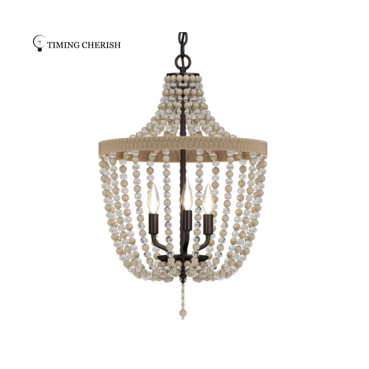Baikal  Wood Bead Hanging Ceiling Light Fixture in 2021