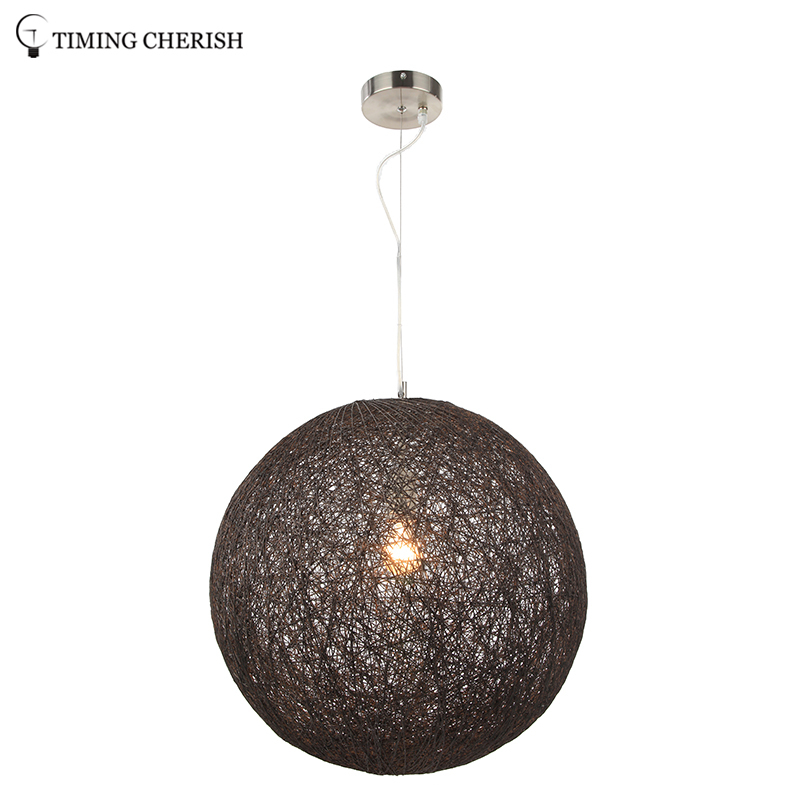 Hanging Lamp Ball Paper Wicker 1 Flame Pendant Lamp, Pendant Light Bedroom Lamp,Living Room Lamp