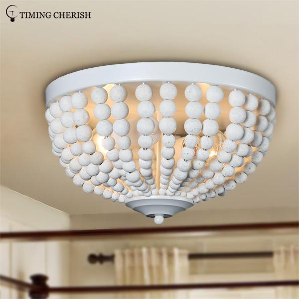 White Wood Beads Decoration Flush Mount Ceiling Lamp Light Fixtures Black Finish