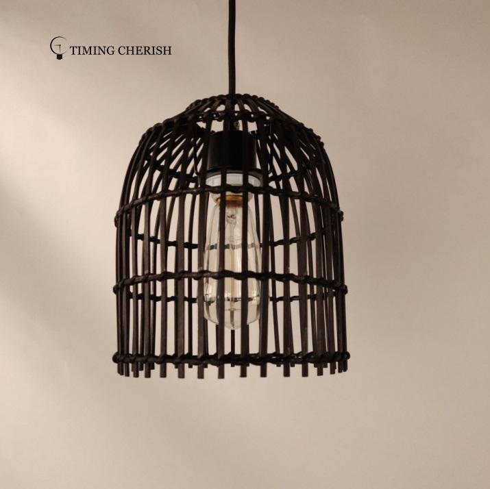 Elvin Small Woven Wicker Hanging Pendant  Lamp  Interior Design Trend