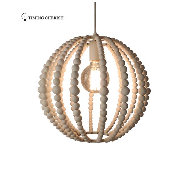Adjustable Modern White Wash Wooden Bead Strand Sphere Globe  Suspension Pendant Light  Portable with Plug
