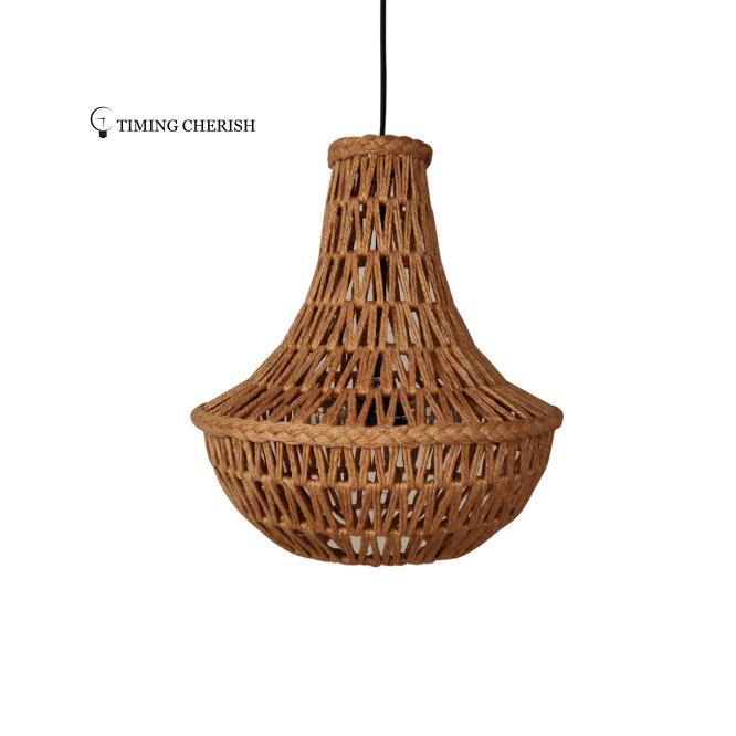 Natural Jute String Hand-woven Pendant Light Wicker Pendant Shade Hanging Lamp Shade Light Manufacturer