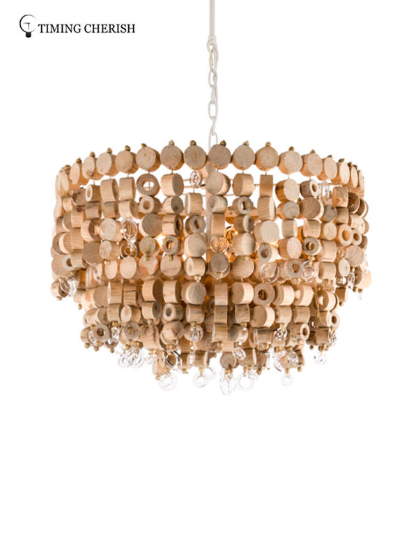 Exclusive Octave 5 Light Handmade 2-Tier Wood Chip Modern Pendant Lamp in Wood Natural-2