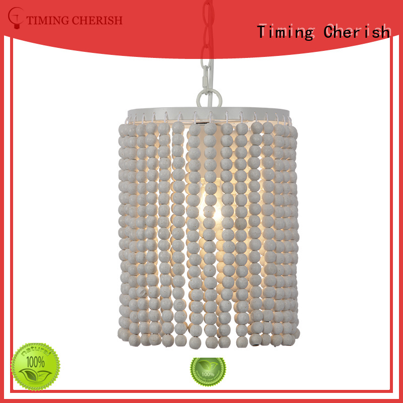 Timing Cherish bead wood pendant light handmade for home