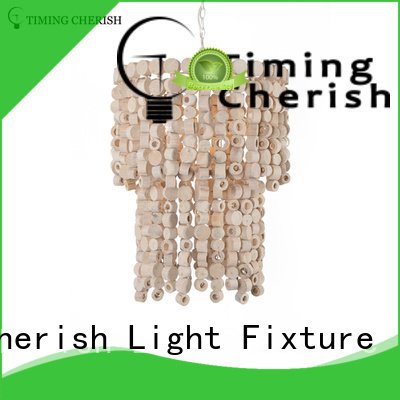 Timing Cherish natural wood bead chandelier cotton for hotel