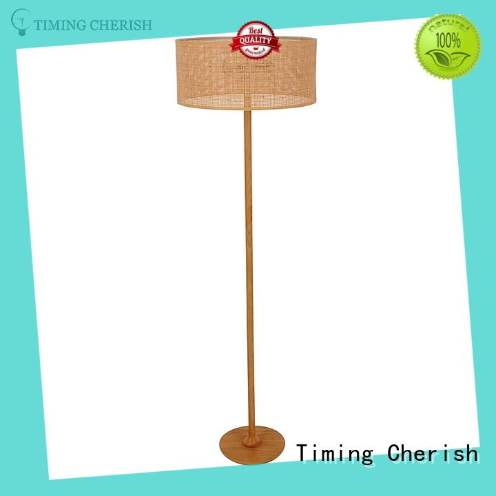 Rhine 2 Light Natural Wood and Tan Wicker Modern Floor Standing Lamp in Natural Wood