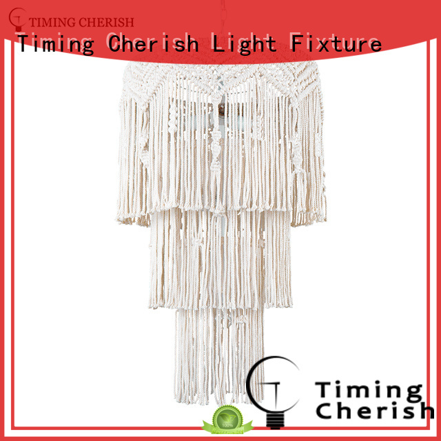 Timing Cherish weaving wood bead light customized for hotel