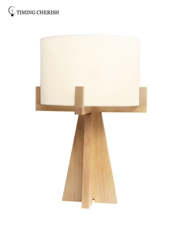 Hyde 1 Light Handmade Wooden Vintage End Table Lamp in Natural Wood-2