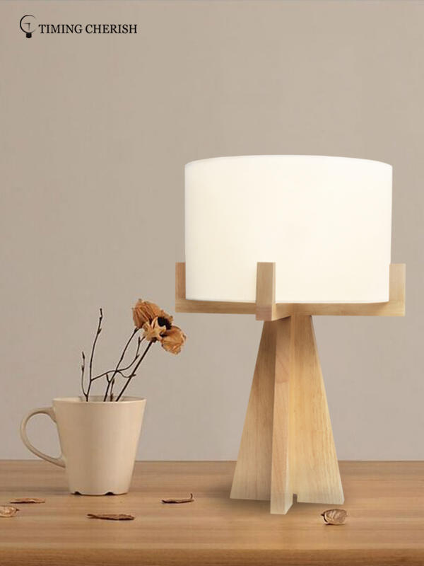 Hyde 1 Light Handmade Wooden Vintage End Table Lamp in Natural Wood-1